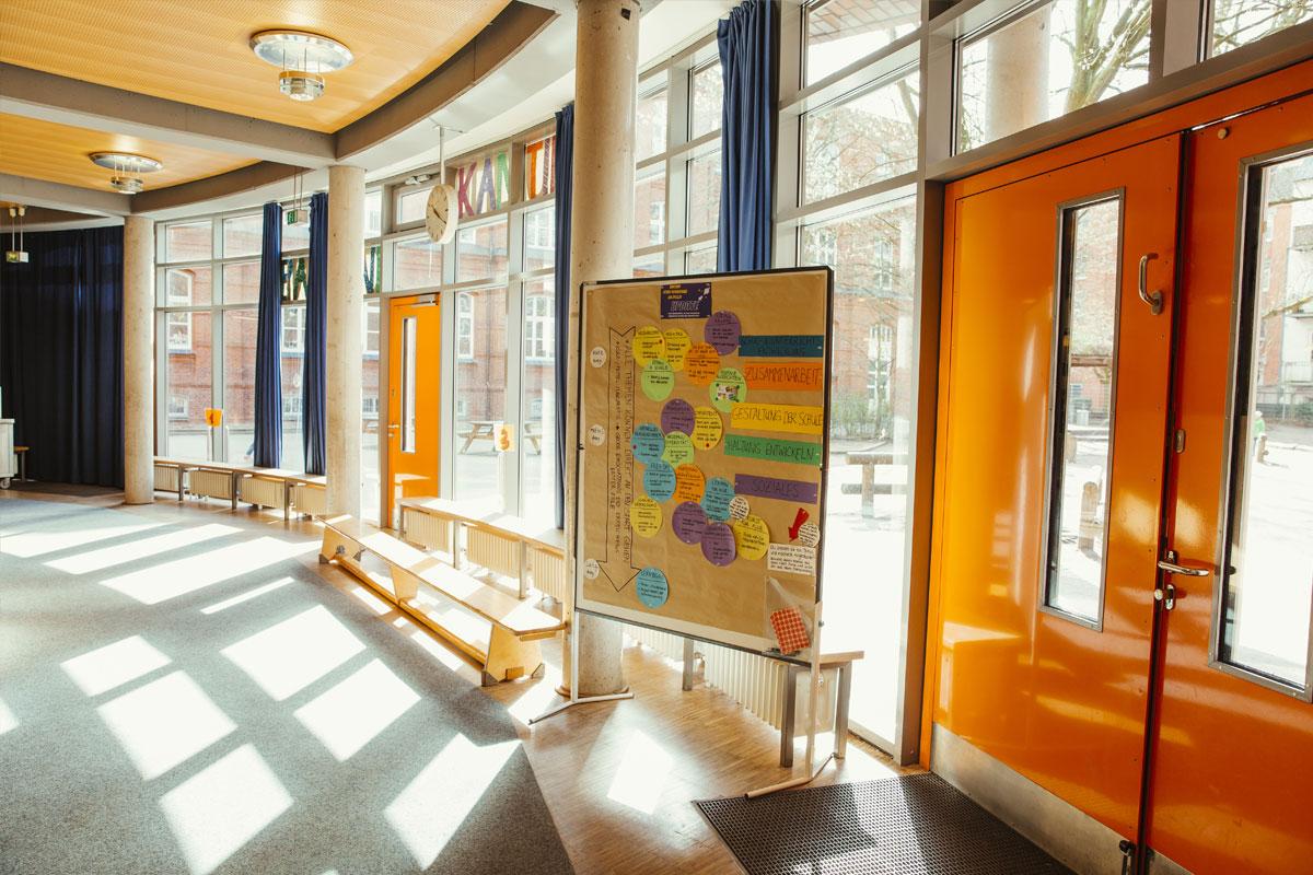 Das ist der Mensaeingang der Schule Rothestrasse mit bodentiefen Fenstern.