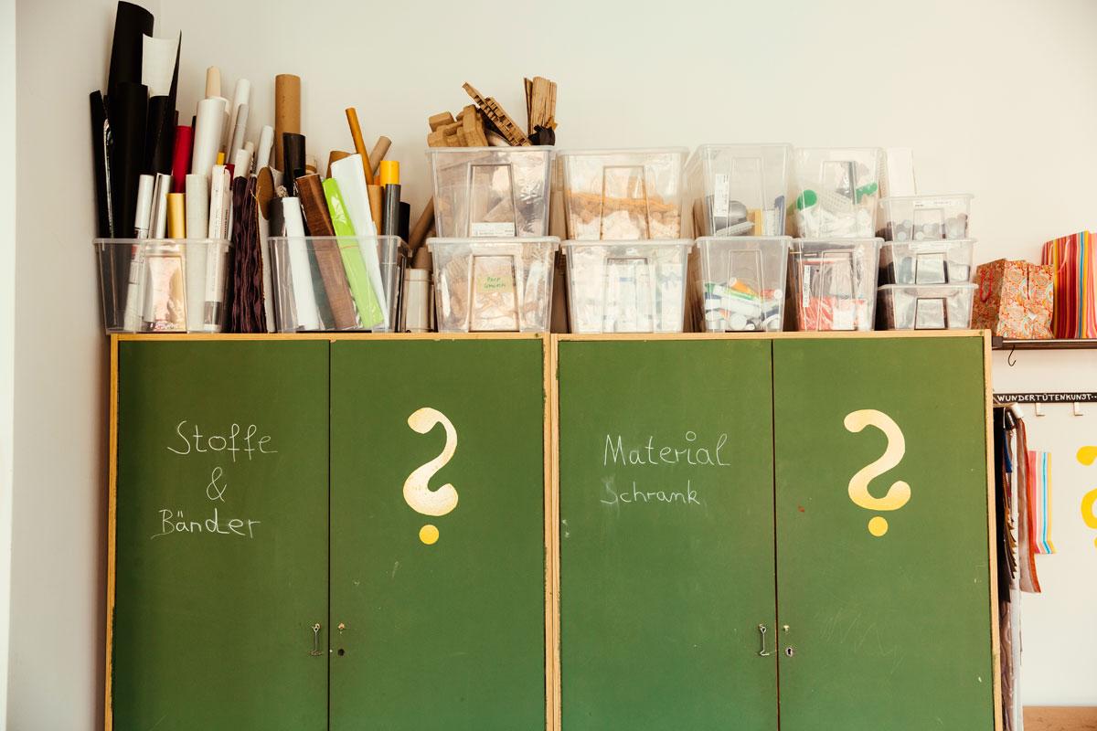 Das ist eine Aufnahme aus dem Schulatelier. Es zeigt auf einen grünen Schrank auf dem man mit Kreide schreiben kann. Dort steht Stoffen und Bänder und Materialschrank.